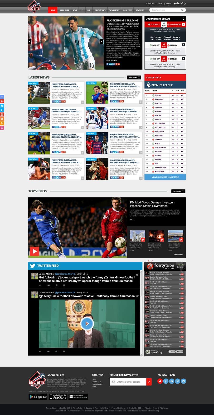 Proposition n°52 du concours Design a Mockup for Football website