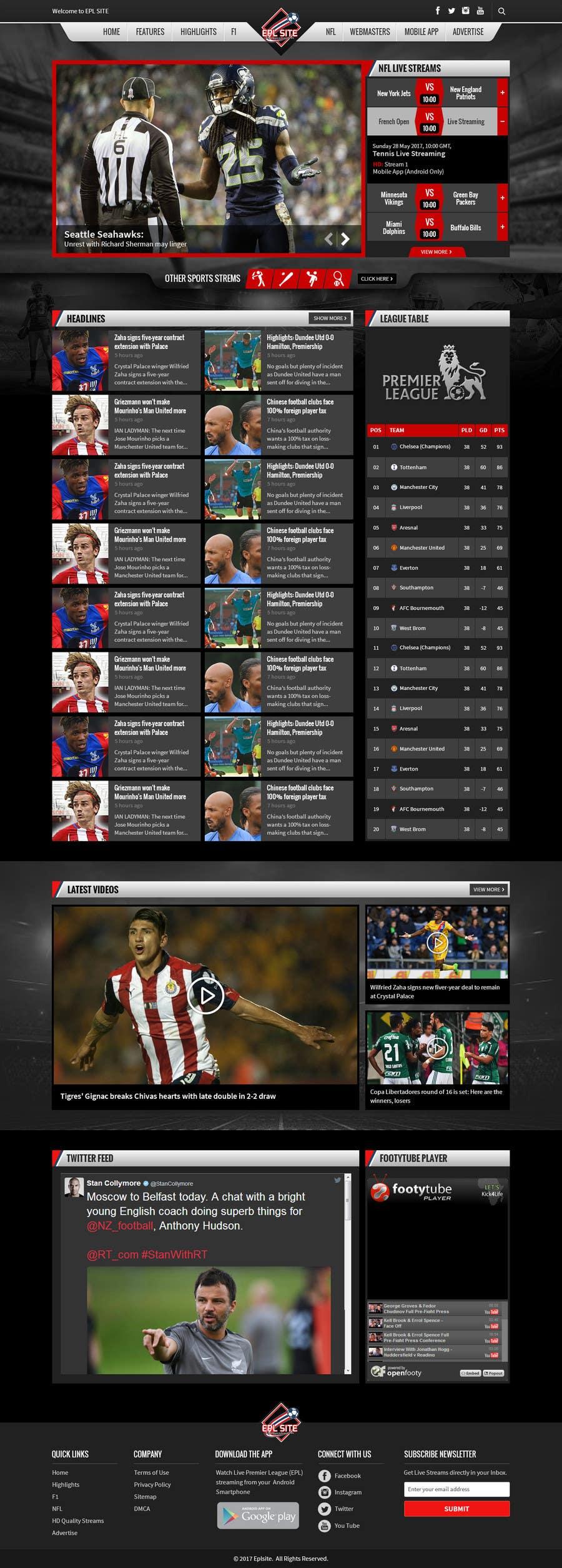 Proposition n°49 du concours Design a Mockup for Football website