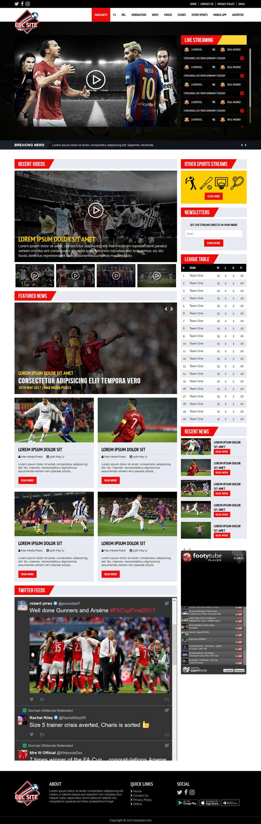 Proposition n°41 du concours Design a Mockup for Football website