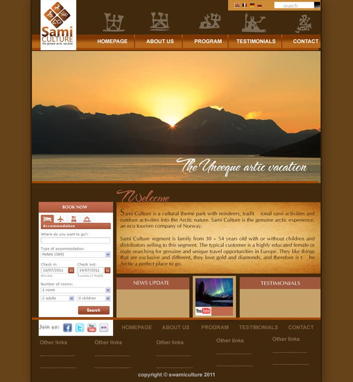 Contest Entry #                                        15                                      for                                         Website Design for Sami Culture (Joomla!)