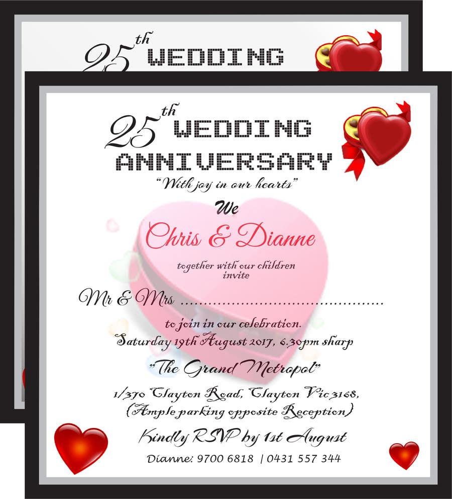 Entry #28 by abhimanyu3 for 25TH WEDDING ANNIVERSARY INVITATION ...