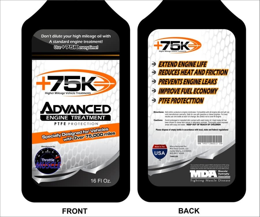 #65 for Print & Packaging Design for +75K High Mileage Engine Treatment by arteq04