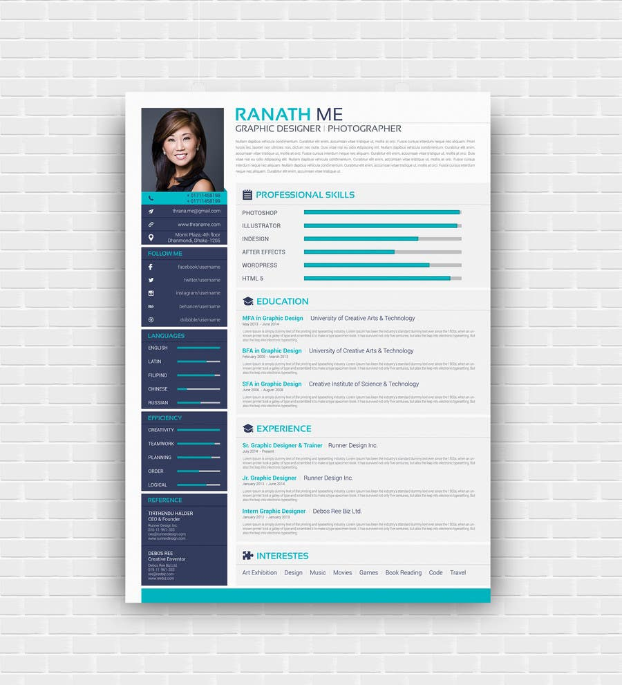 Proposition n°31 du concours I need someone to deign an easily editable resume