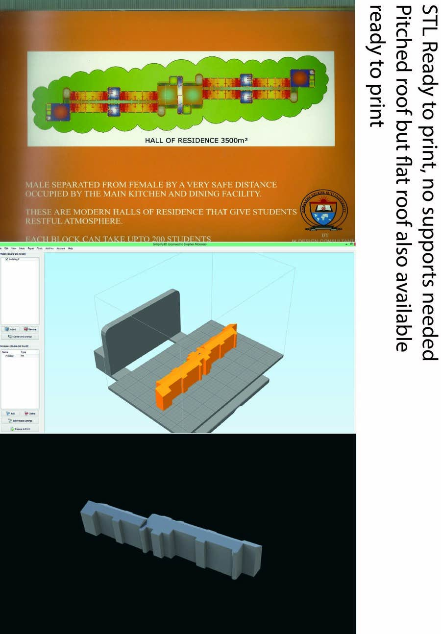 Proposition n°9 du concours I need a 2D plan to be modeled into a 3D printable file