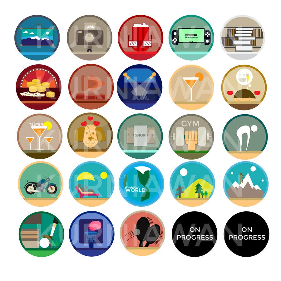 Proposition n°3 du concours Disegnare alcune Icone che rappresentino stili di vita ed attività varie per sito html - Draw some icons that represent different lifestyles and activities for a html site