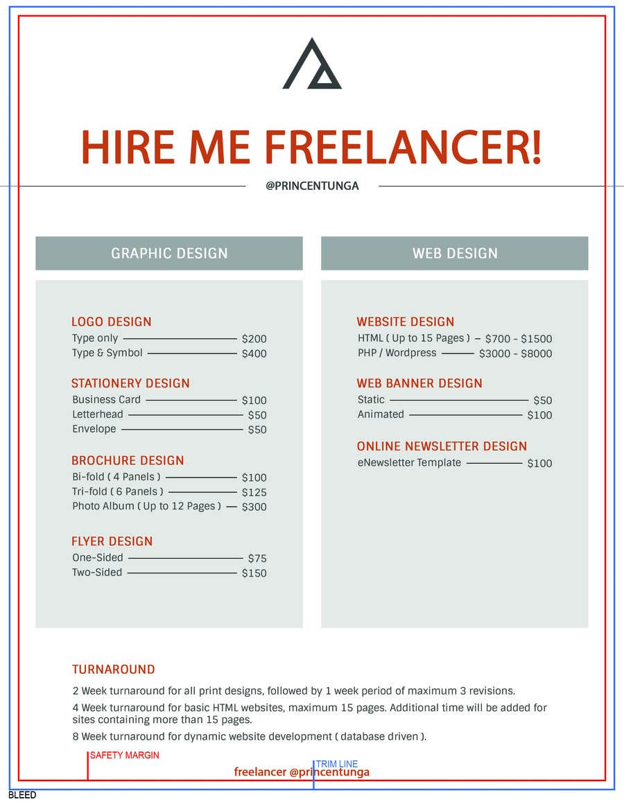 entry 2 by princentunga for design one page rate card freelancer