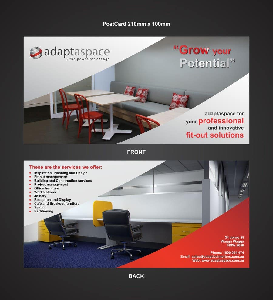 Contest Entry #                                        18                                      for                                         Graphic Design/ Marketing / Brochure Card for adaptaspace