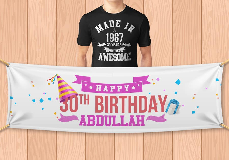 Birthday Banner And T Shirt Design