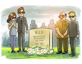 "#1 pentru I want a cartoon picture, with some people standing around the tombstone.  On the tombstone, it reads ""RIP Microsoft Dynamics AX 2009 June 2008 - April 2018 de către lendula"