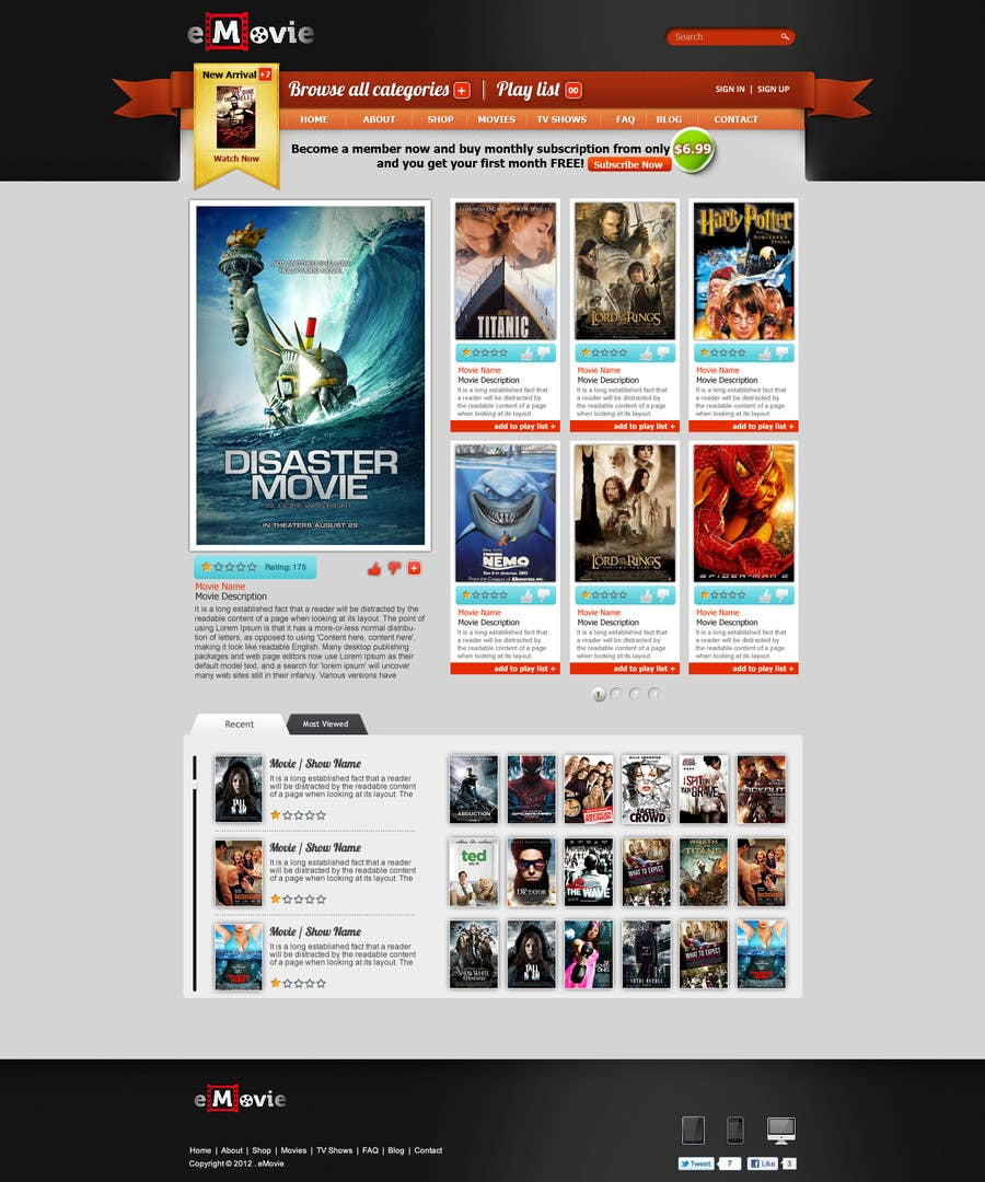 #18 for Website Design for eMovie - Online Movie Streaming by ANALYSTEYE