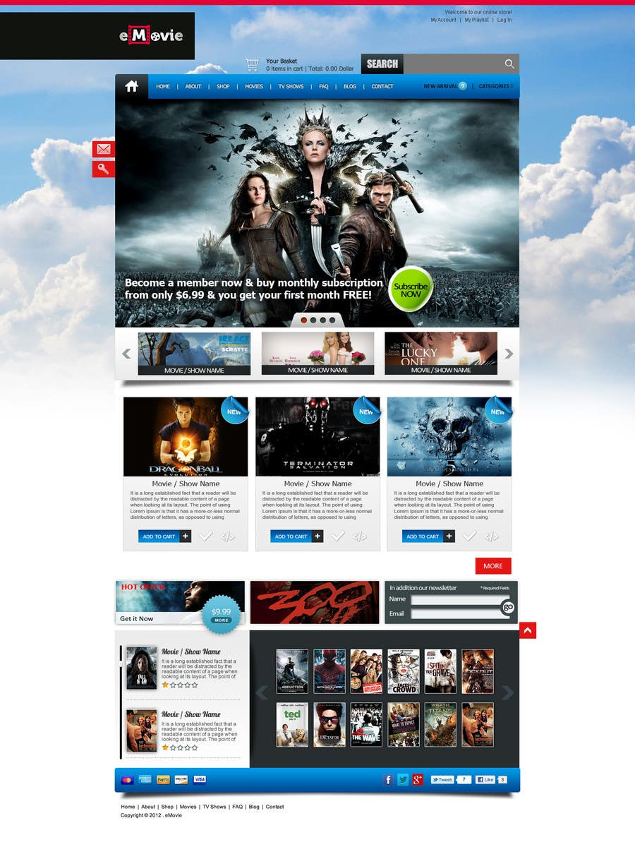 #44 for Website Design for eMovie - Online Movie Streaming by ANALYSTEYE