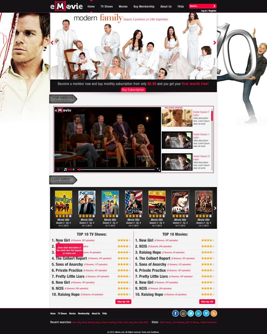 #14 for Website Design for eMovie - Online Movie Streaming by ro14Design