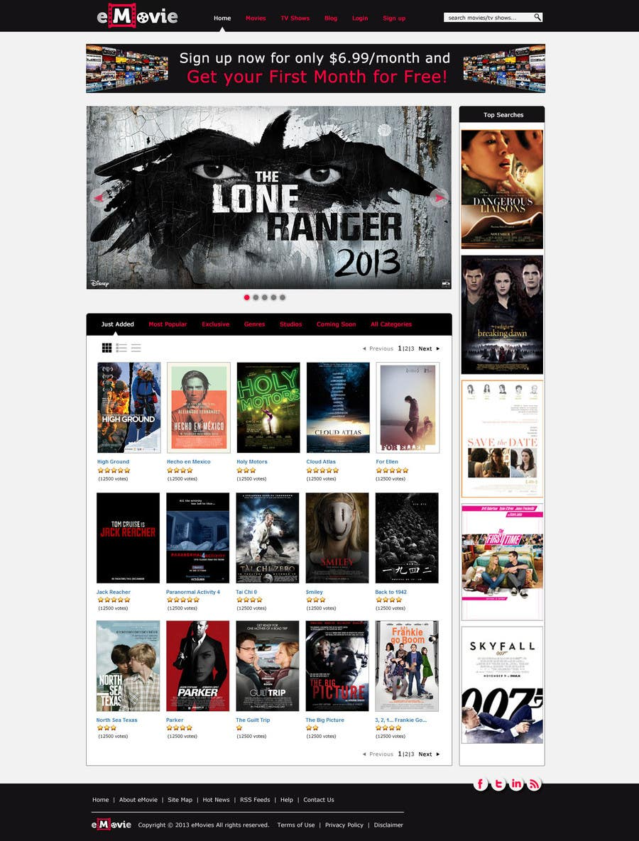 #36 for Website Design for eMovie - Online Movie Streaming by indrasan99