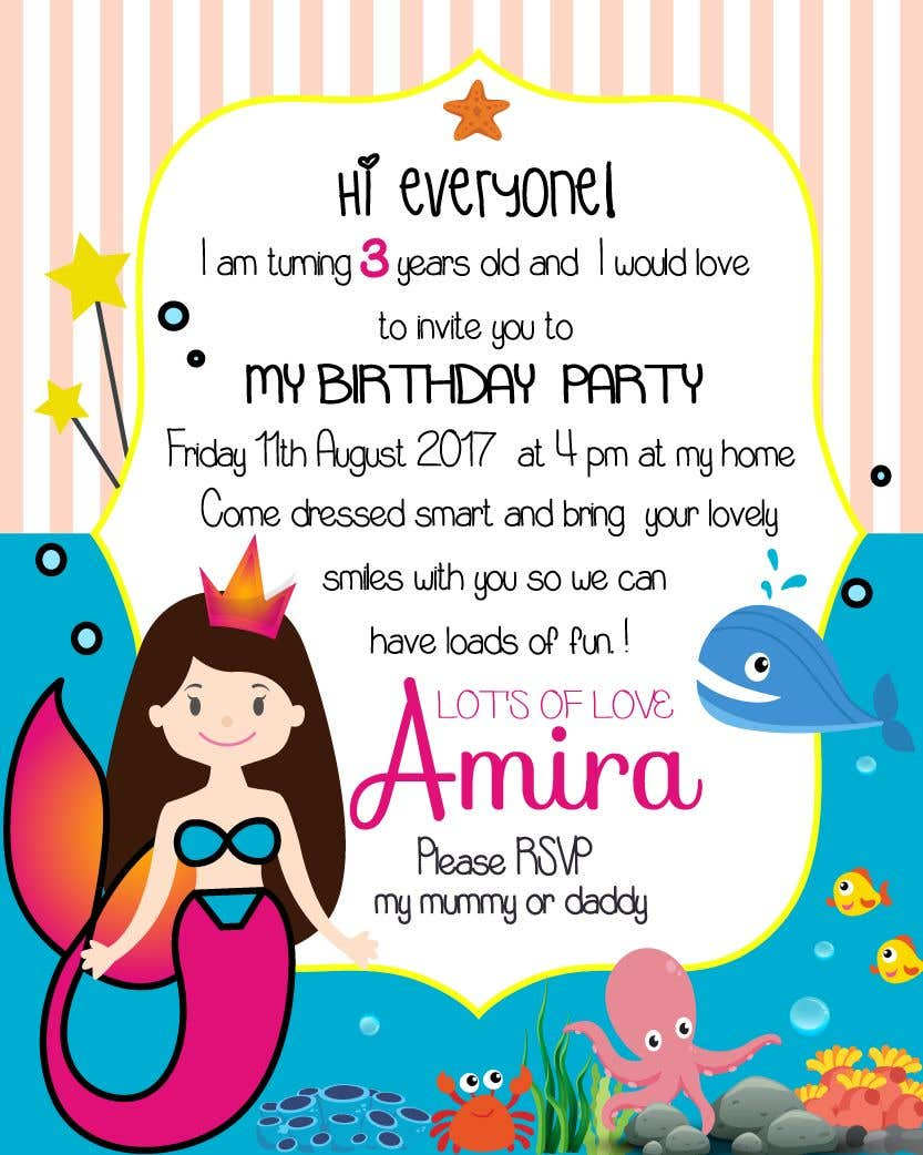 Contest Entry 48 For I Need Some Graphic Design A Birthday Invitation My Dougher