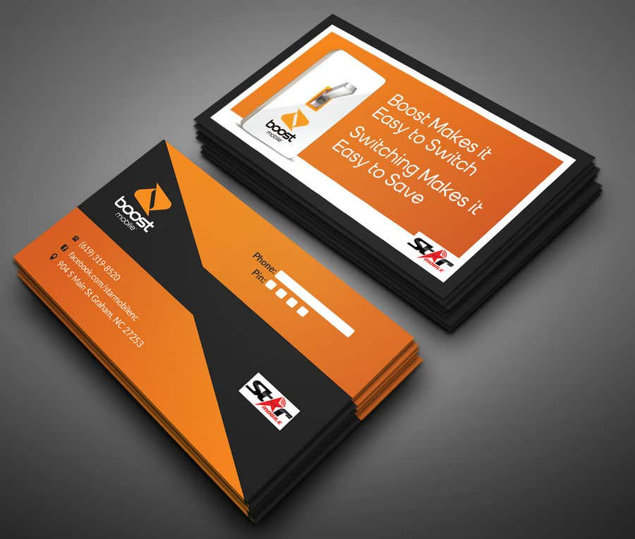 Entry #42 by Neamotullah for Boost Mobile Business Card | Freelancer