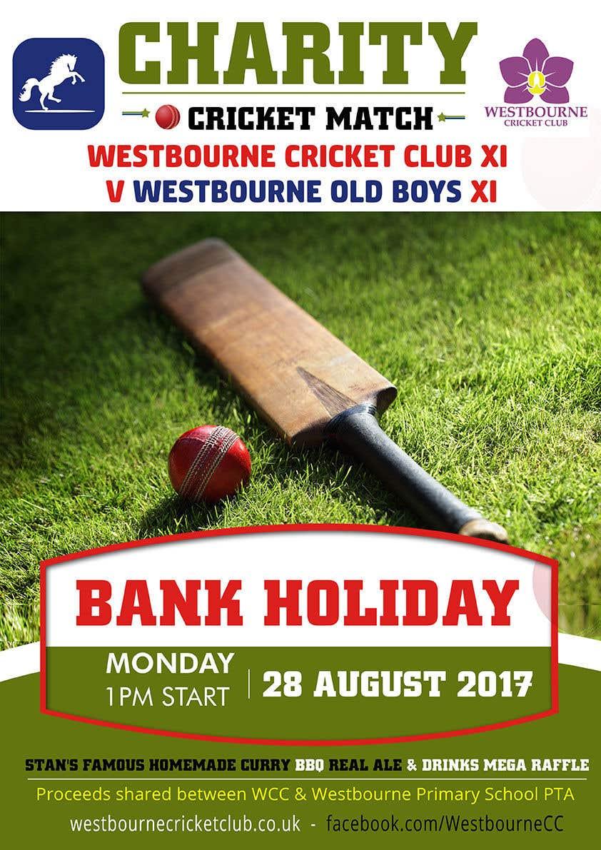 """Intrarea #28 pentru concursul """"Fundraiser Poster Design for Print - Cricket!"""""""