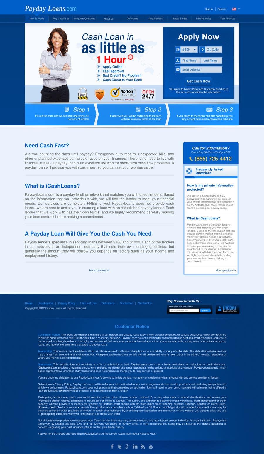 Bài tham dự cuộc thi #69 cho Website Design for Payday Loans Website