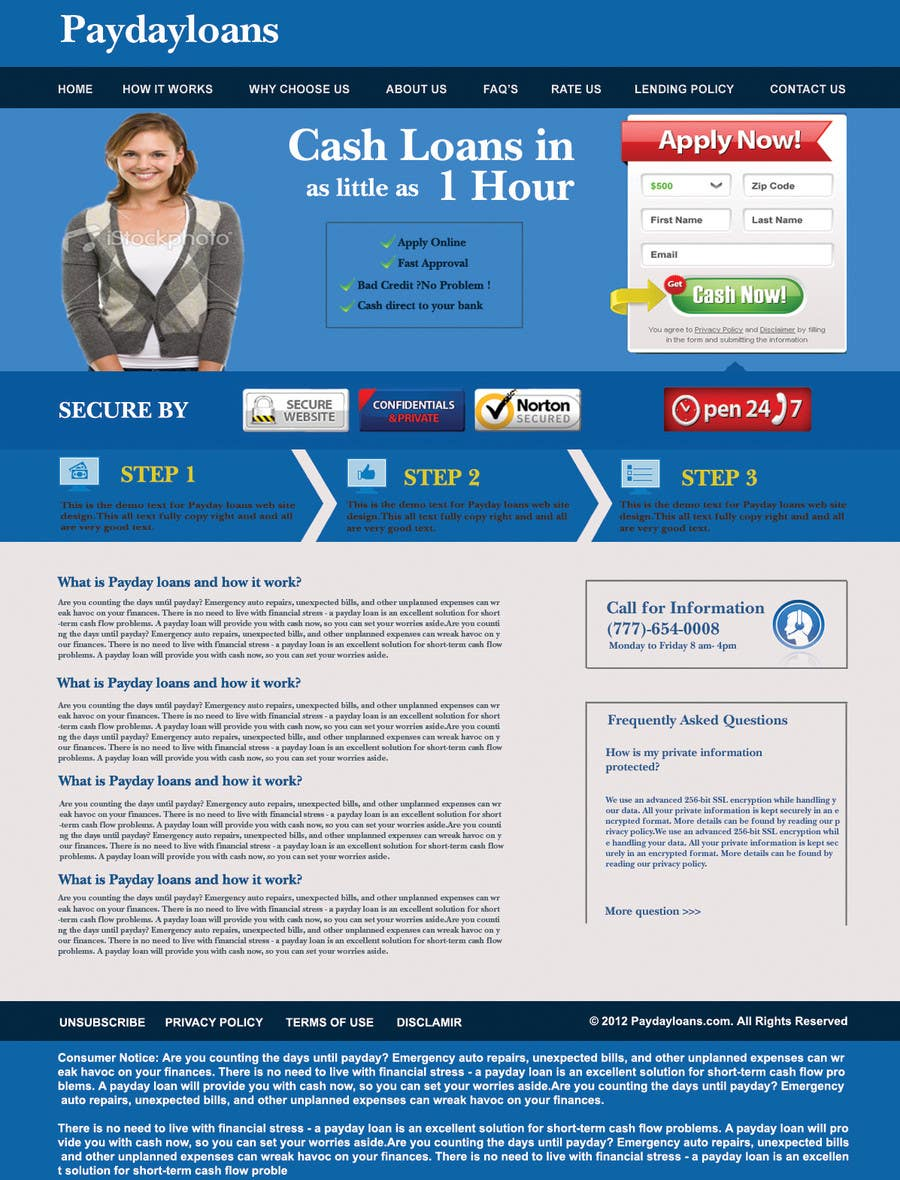 Bài tham dự cuộc thi #85 cho Website Design for Payday Loans Website