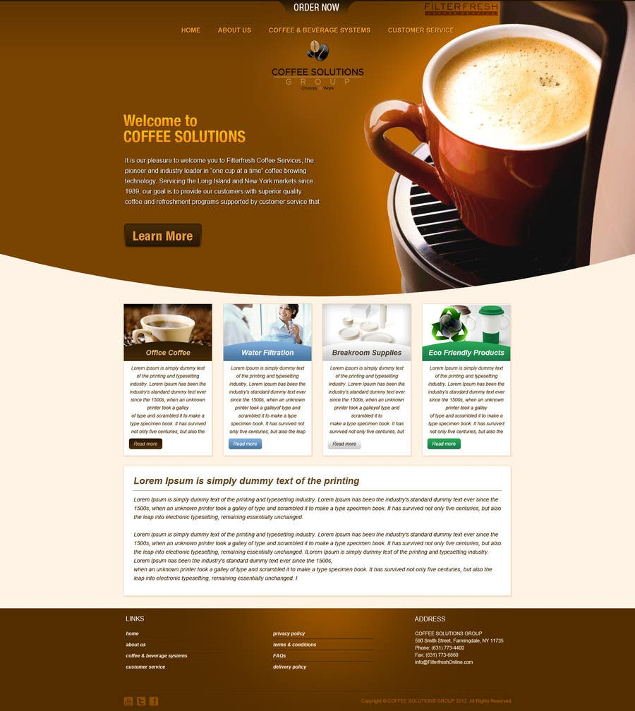 Proposition n°                                        54                                      du concours                                         Website Design for Coffee Solutions Group