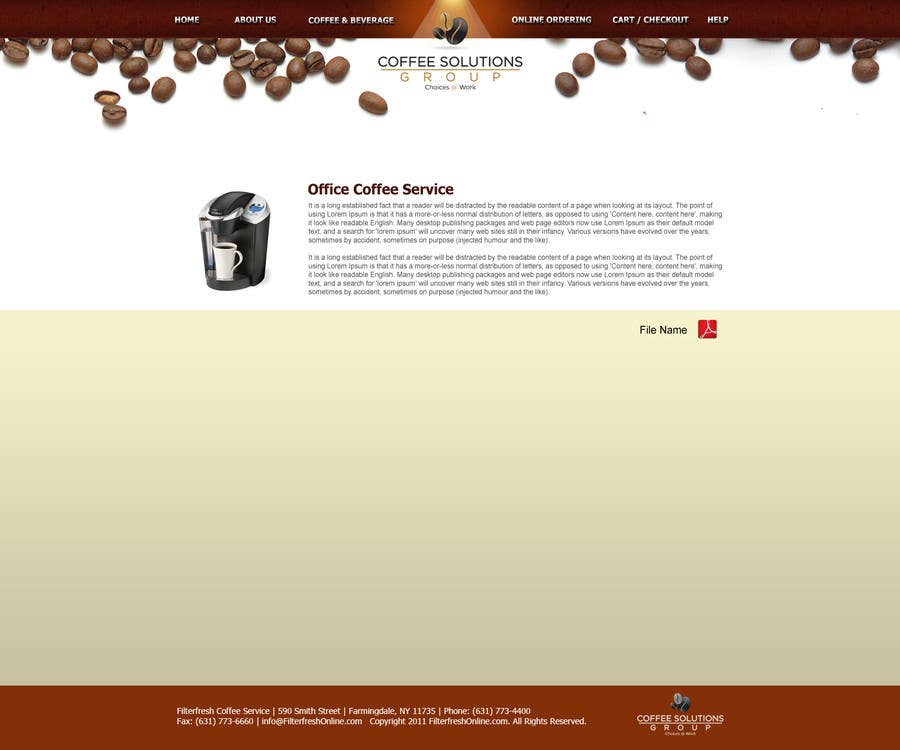 Proposition n°                                        72                                      du concours                                         Website Design for Coffee Solutions Group