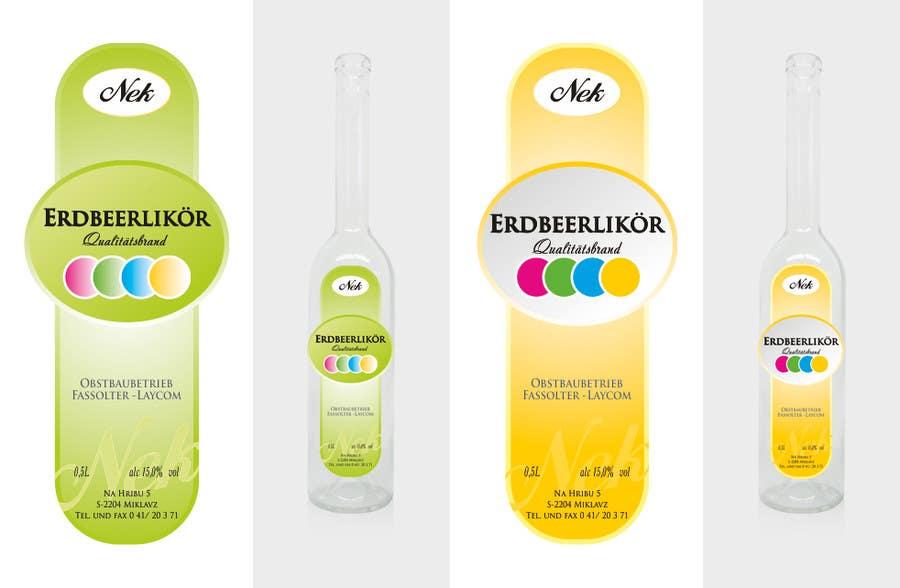 Kilpailutyö #101 kilpailussa Graphic Design- Label for fruit liqueur.