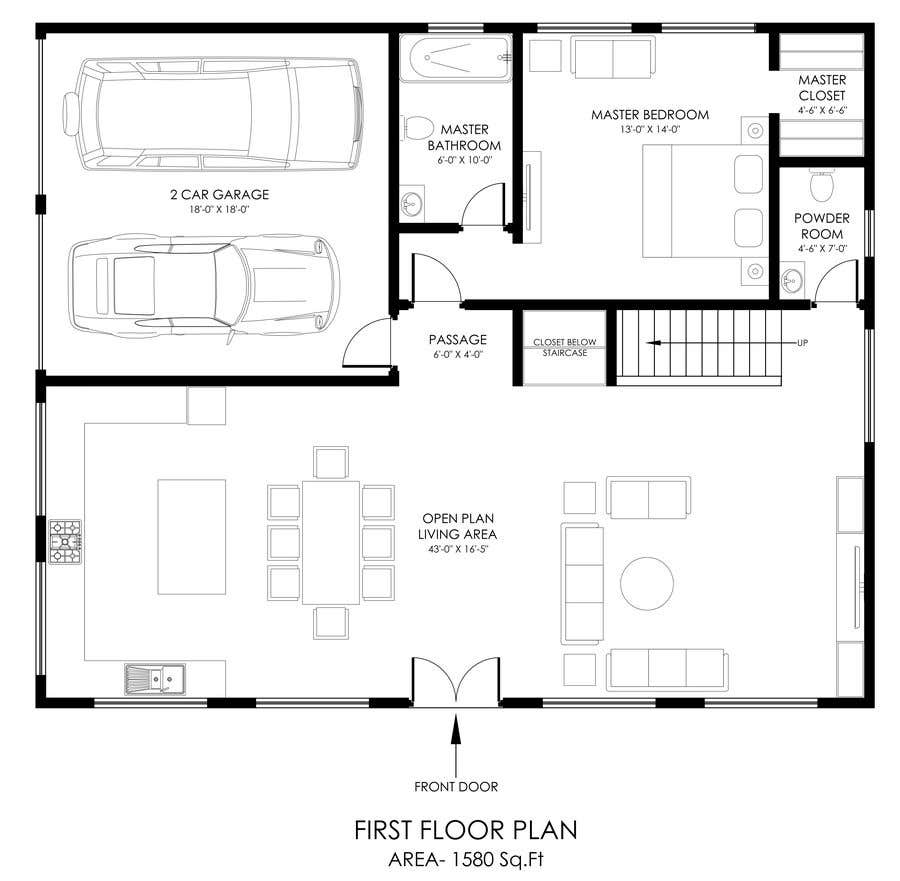 Entry #34 by njunani for Turn Sketches/ideas into Floor plan