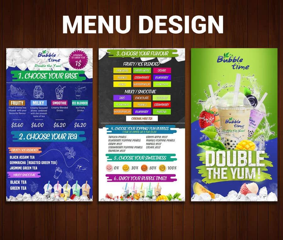 design graphics for a Bubble tea menu along with grand ...