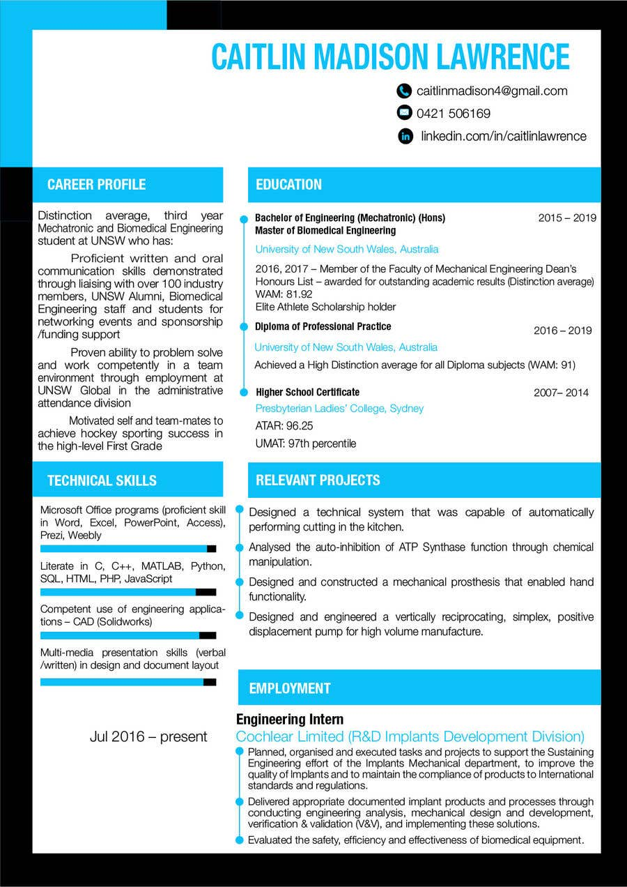 entry 6 by alamin011 for design my resume enhance the layout