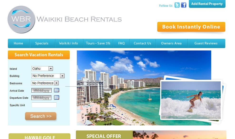 Конкурсная заявка №38 для Logo Design for WaikikiBeachRentals.com