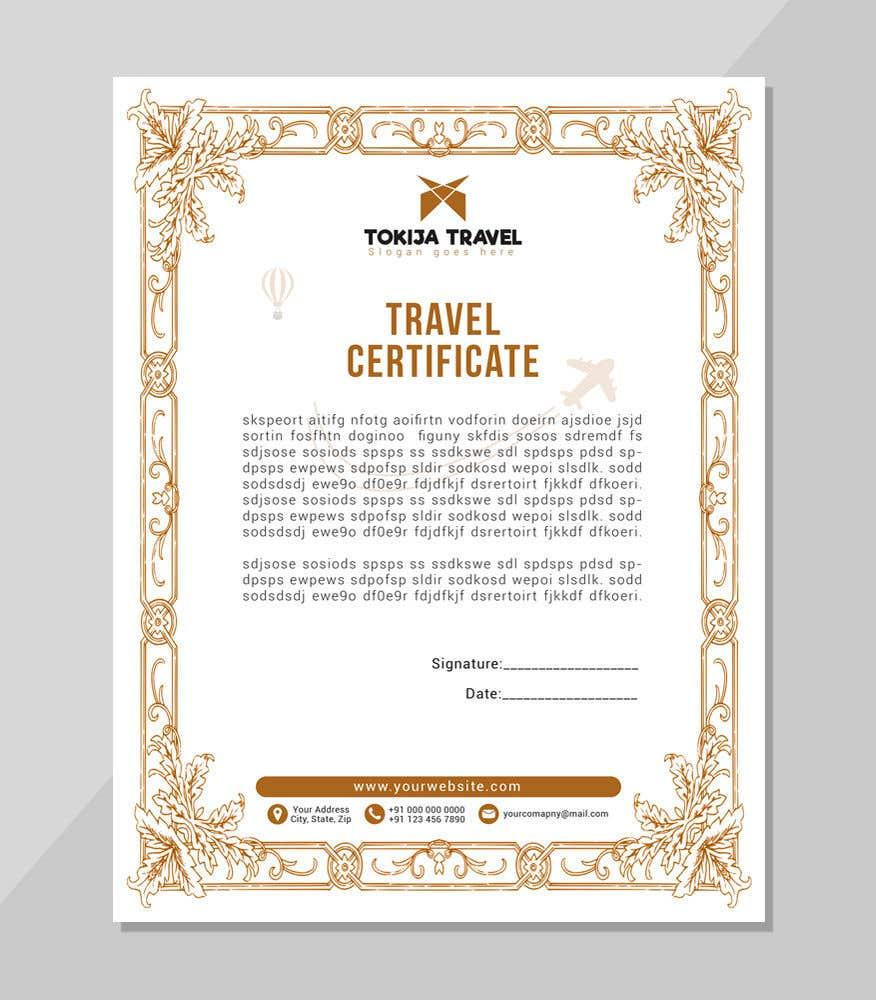 Entry 67 By Ktmartnet For Design A Travel Certificate Freelancer