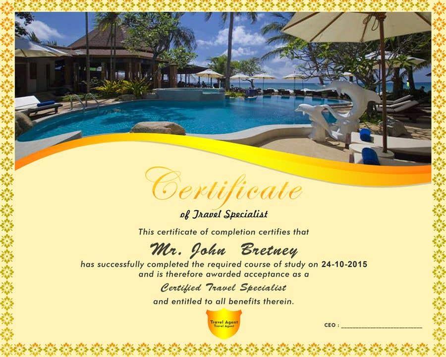 Entry 70 By Afrazilyas For Design A Travel Certificate Freelancer