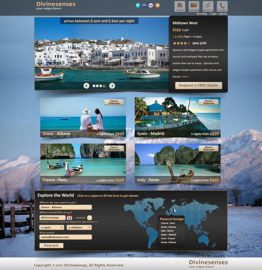 Contest Entry #                                        120                                      for                                         Website Design for Travel Packages