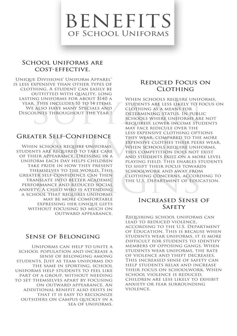 """Penyertaan Peraduan #                                        4                                      untuk                                         Design an Informational Flyer for School Uniforms 8.5""""x11"""""""