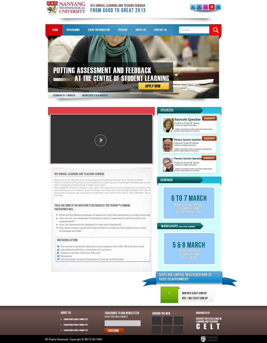 """#71 for Website Design for Seminar: """"Putting Assessment and Feedback at the Center of Student Learning"""" by kreativegraphic"""