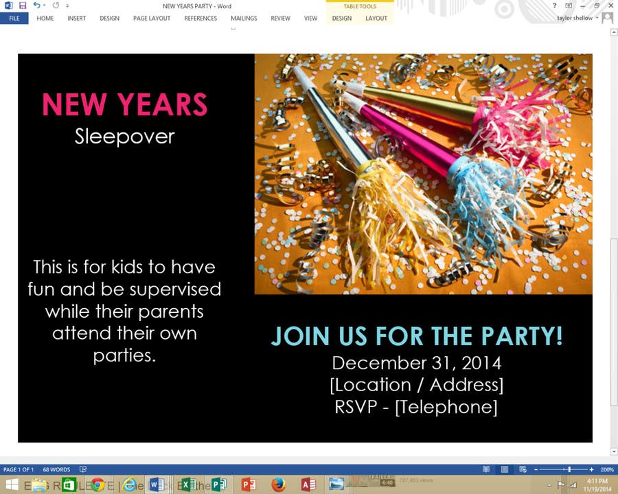 Bài tham dự cuộc thi #                                        16                                      cho                                         Design a Flyer for a New Years Eve Sleep Over Party