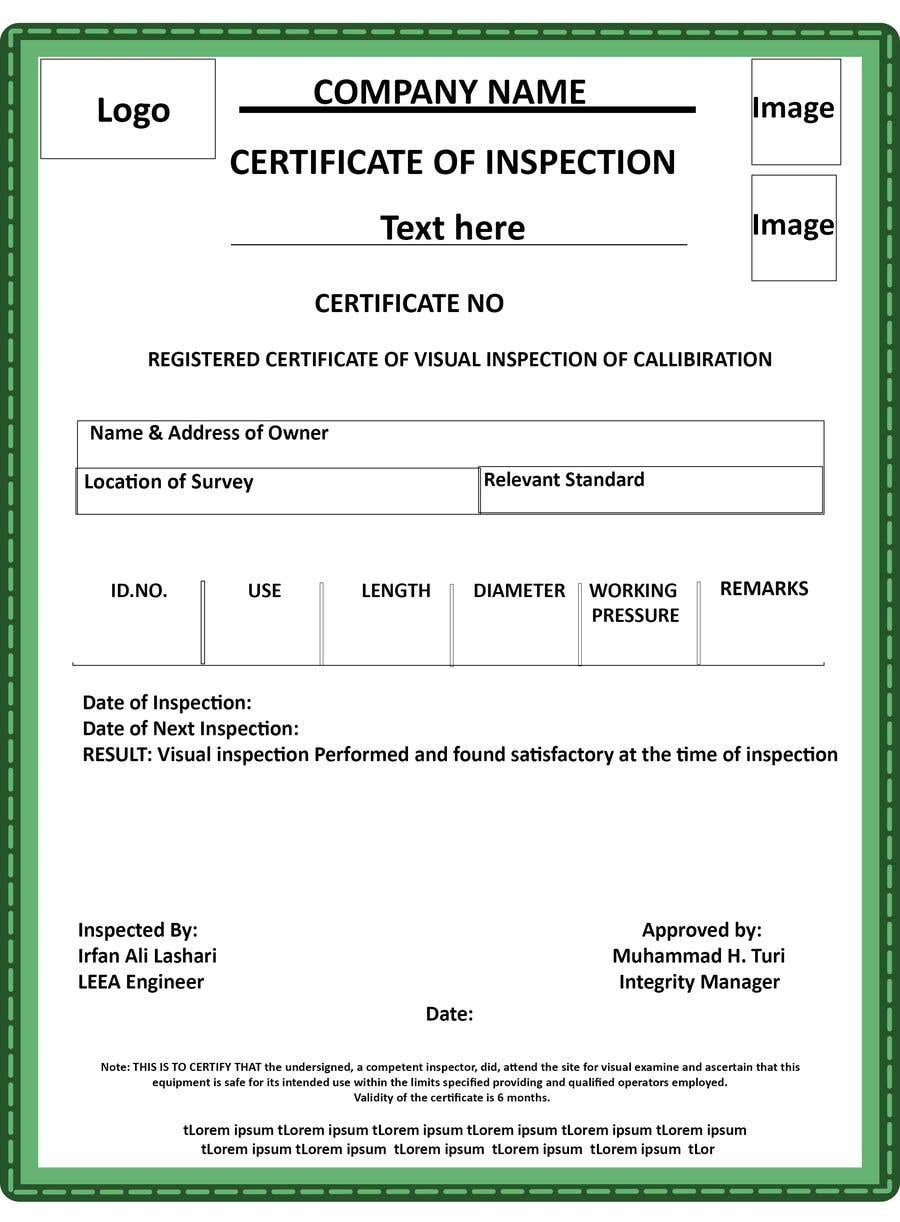 Entry 2 By Faisalshaikh2 For Design A Certificate For Inspection