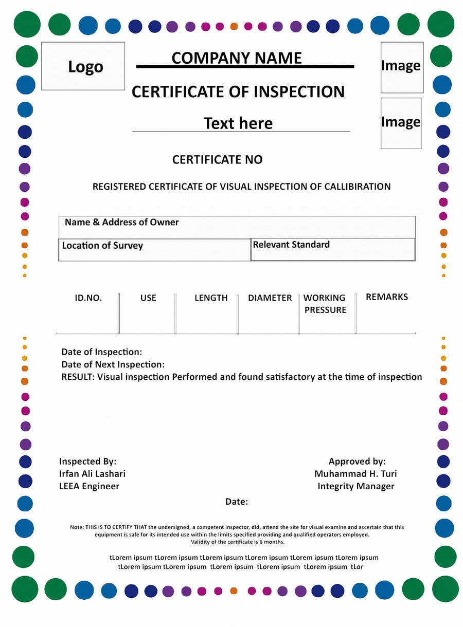 Entry 8 By Faisalshaikh2 For Design A Certificate For Inspection