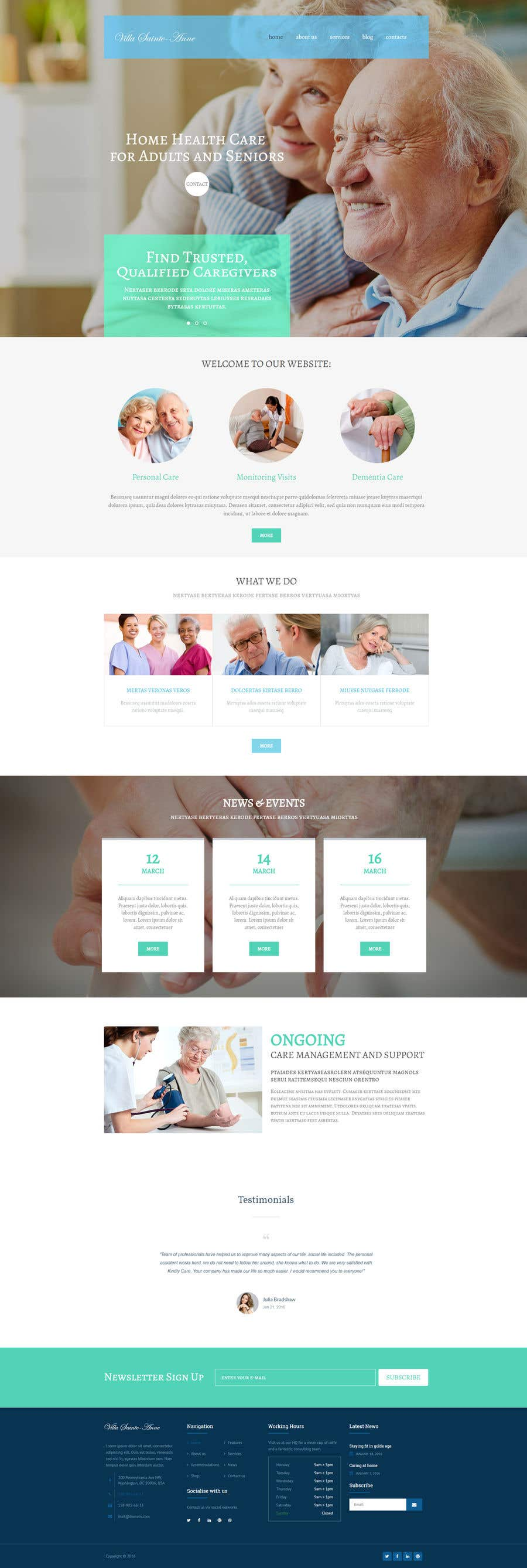 Penyertaan Peraduan #4 untuk Make a website mockup / visual design for our senior care home