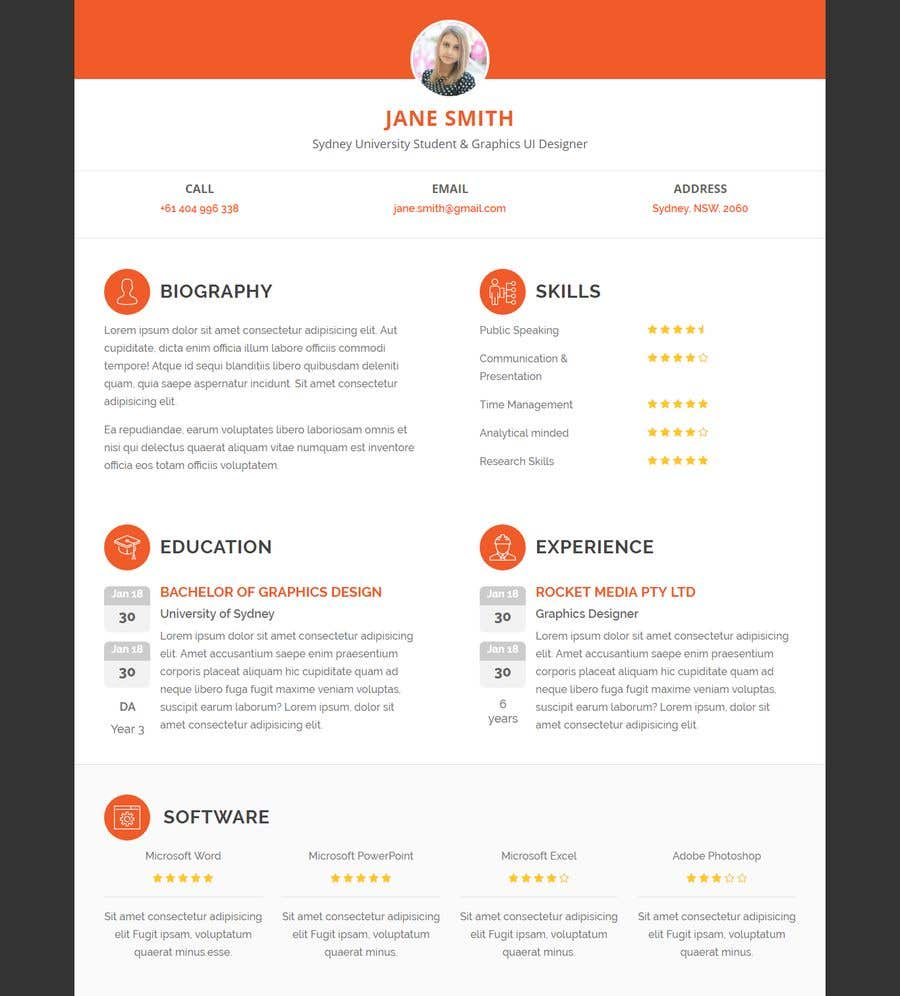 Entry #9 by boushib for Design Resume Templates with Css ...