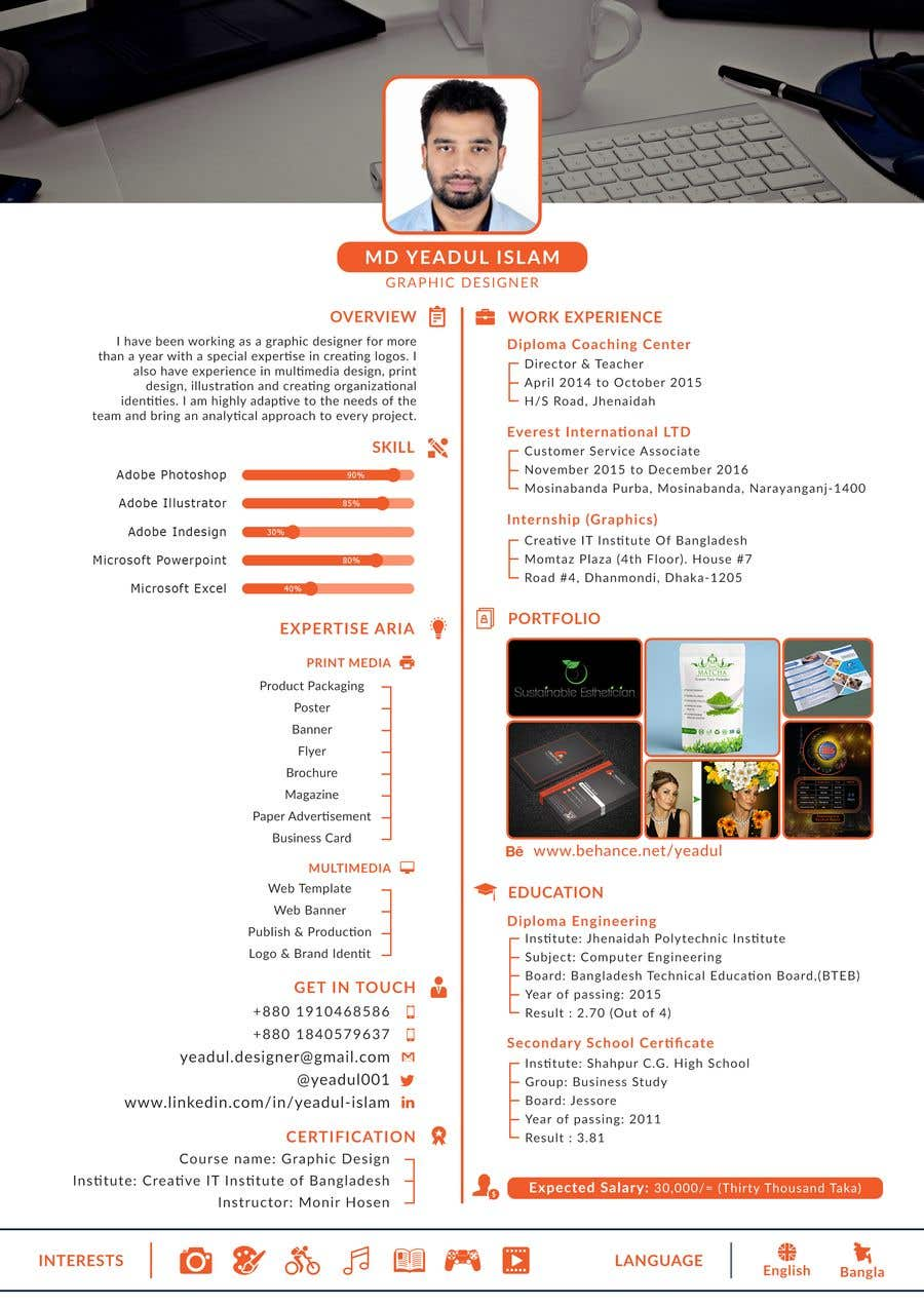 Entry #1 by yeadul for Design Resume Templates with Css Html ...