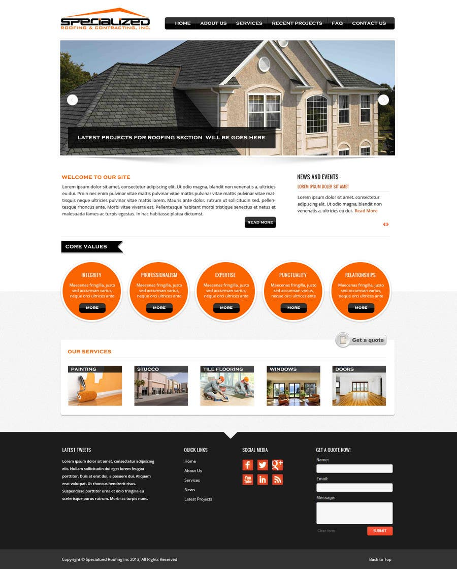 Bài tham dự cuộc thi #                                        6                                      cho                                         Wordpress Theme Design for Specialized Roofing & Contracting Inc.