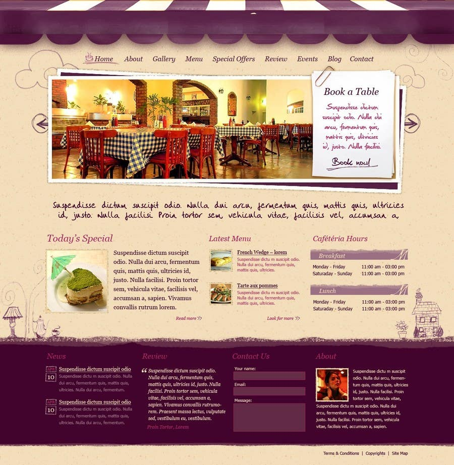 Penyertaan Peraduan #                                        12                                      untuk                                         Build a Website for a restaurant and a one page website for a small community