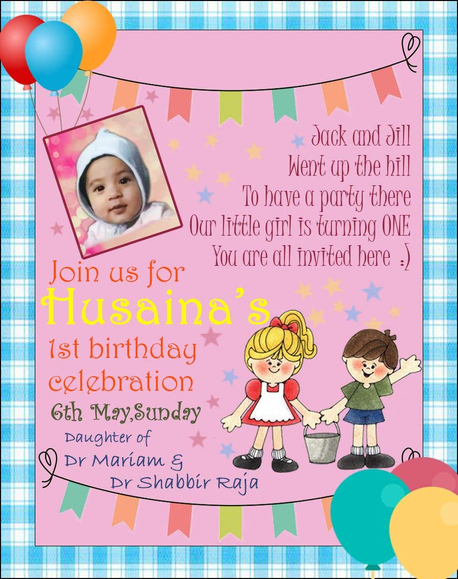 Entry 5 By Anuranpandit95 For Design A Birthday Invite For Baby