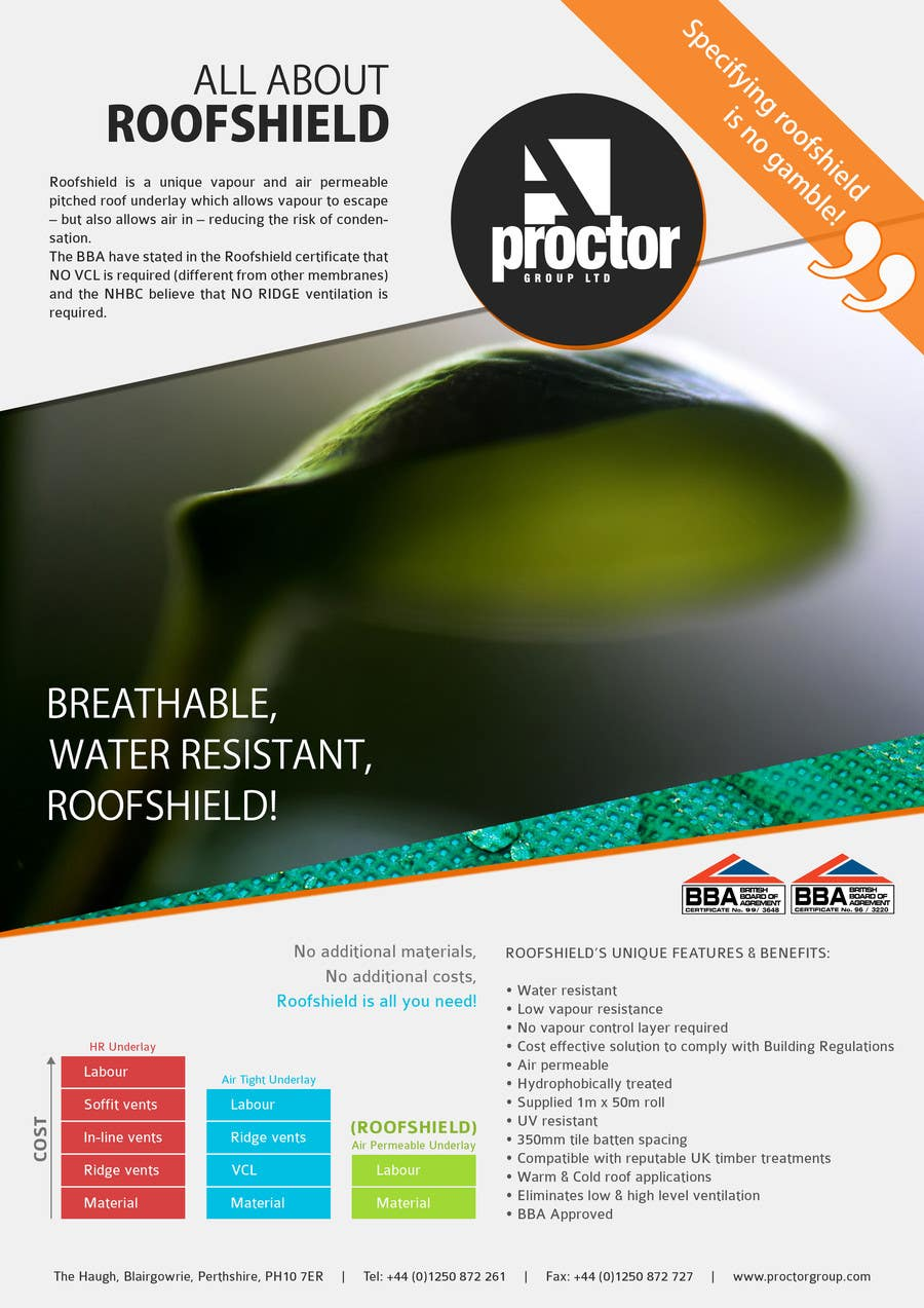 Proposition n°142 du concours Roofshield Advertisement Design for A. Proctor Group Ltd