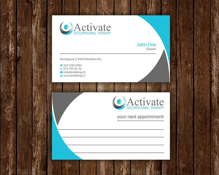 Penyertaan Peraduan #                                        7                                      untuk                                         Design some Business Cards for Activate Occupational Therapy