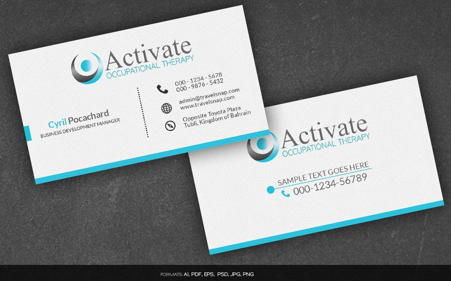 Contest Entry 66 For Design Some Business Cards Activate Occupational Therapy