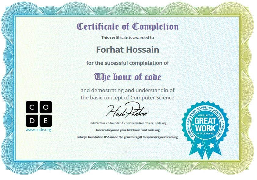 Entry 4 By Forhat990 For Build Me A Html Template For A Certificate