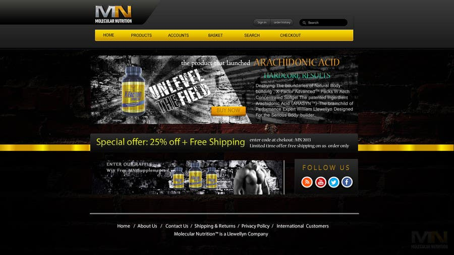 Penyertaan Peraduan #                                        43                                      untuk                                         Website for Sports Nutrition Co. NO CODING / GFX ONLY