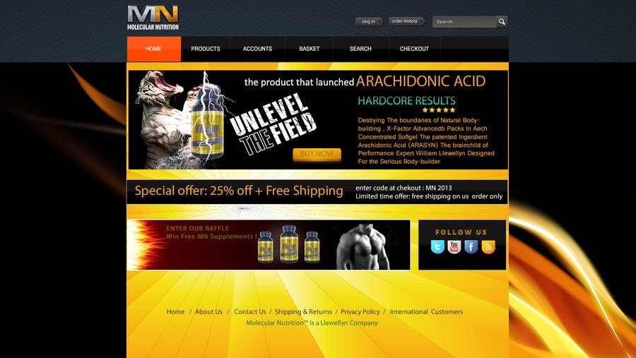 Penyertaan Peraduan #                                        28                                      untuk                                         Website for Sports Nutrition Co. NO CODING / GFX ONLY