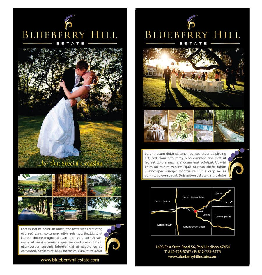 Konkurrenceindlæg #56 for Graphic Design for MARKETING BROCHURE -Blueberry Hill Estate- Wedding Specific -Media Kit for print